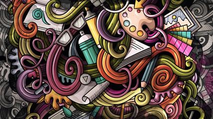 Doodles graphic design illustration. Creative art background