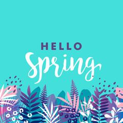 Hello spring banner. Vector illustration.