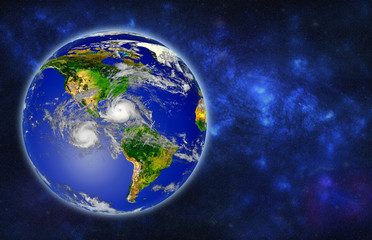 Earth globe with hurricanes, view from space, 3D rendering. Elements of this image furnished by NASA