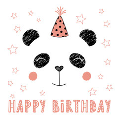 Hand drawn vector portrait of a cute funny panda in party hat, with text Happy Birthday. Isolated objects on white background. Vector illustration. Design concept for kids, party, celebration, card.