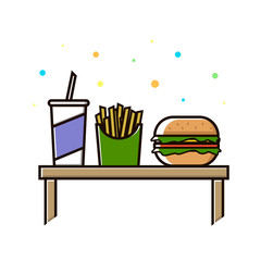 Fast food menu. Cola, hamburger and French fries. Vector Illustration