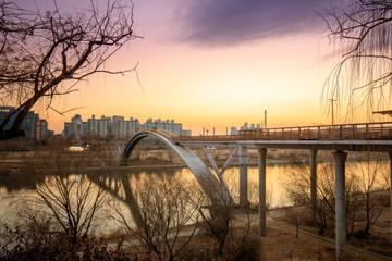 Bridge view of the Seonyudo Park with sunset in Seoul, South Korea