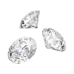 3D illustration isolated three white round diamonds stones