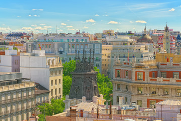 Fotomurales - Panoramic view from above on the capital of Spain- the city of M