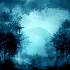 Watercolor banner, logo, postcard. Black silhouette of the forest, pine, spruce, birch, poplar, maple. Full moon. Watercolor landscape, black, blue splash of paint, abstract spots. Picture of ink
