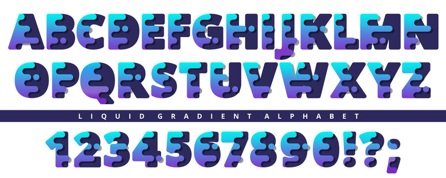 Modern stylized liquid alphabet font.Trendy vector typeface. Great font for logotypes or headlines. Capital letters and numbers.