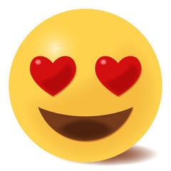 verliebtes Emoticon - Herzaugen - 3D