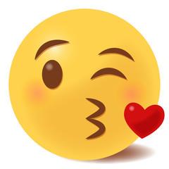 Kussmund mit Herz Emoticon - 3D