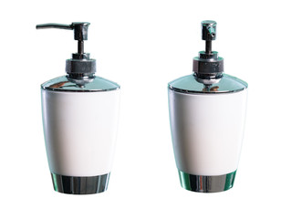 Set of soap dispenser over isolated white background