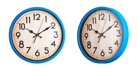 Set of vintage clocks over isolated white background