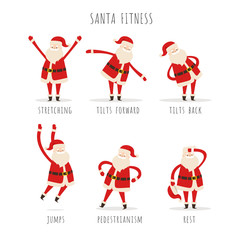 Set of Active Santa Fitness on white Background
