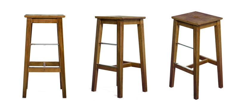 Set of stools over isolated white background
