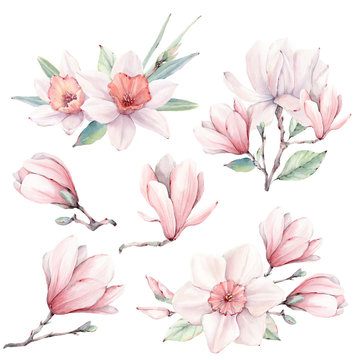Watercolor flowers set in vintage style.
