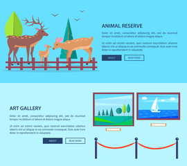 Animal Reserve and Art Gallery Vector Web Banner