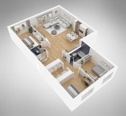 Home floor plan top view 3D illustration. Open concept living apartment layout