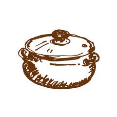 Hand drawn saucepan. Sketch, vector illustration.