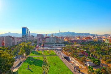Fotomurales - Panorama on the urban center of Barcelona, the capital of the Au