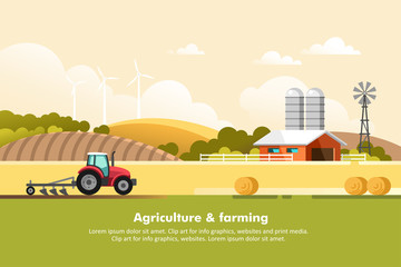 Agriculture and Farming. Agribusiness. Rural landscape. Design elements for info graphic, websites and print media. Vector illustration. Fototapete