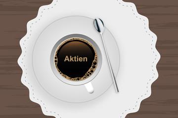 Kaffeetasse mit Untertasse - Aktien