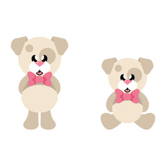 cartoon cute dog with tie set