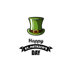 St Patrick s Day element. Green leprechaun hat.  illustration.