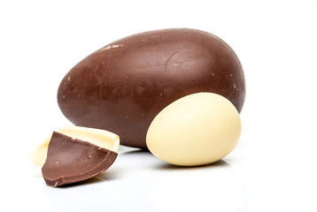 Easter chocolate eggs on a light background
