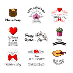 Set of cute illustrations for Mother s Day in cartoon style.  illustration.