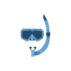 Vector cartoon scuba diving snorkeling equipment snorkel and mask icon. Summer holiday vacation, sea beach resort symbol. Adventure active leisure. Isolated illustration on a white background.
