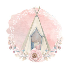 Watercolor childhood clipart. Kids wigwam in boho style.