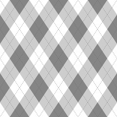 Grey argyle seamless pattern background.Diamond shapes with dashed lines. Simple flat vector illustration.