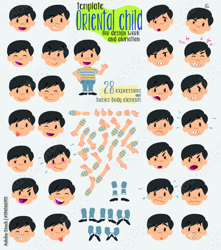 cartoon character asian boy twenty eight expressions and basics