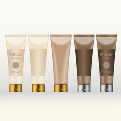 Vector 3D beauty cosmetic product mock up. Isolated realistic bottles for advertising branding. Cosmetic packaging design template.