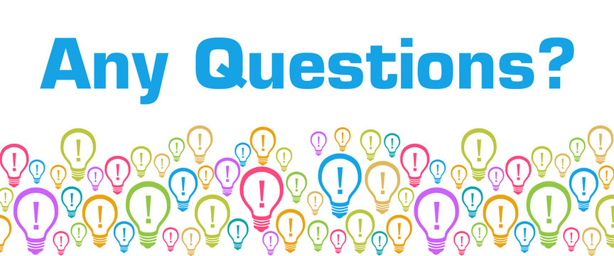 Any Questions Colorful Bulbs With Text