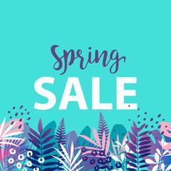 Spring sale banner. Vector illustration.