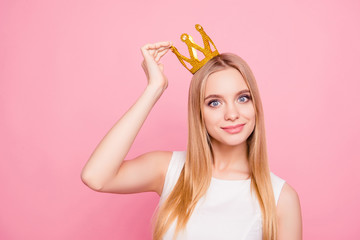 Close up portrait of sweet lovely attractive chic classy luxurious stunning gorgeous dreamy delightful excited cheerful queen of beauty putting crown on head isolated on background copy-space