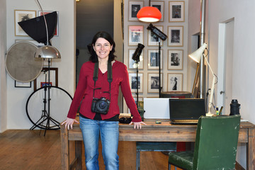 woman working in a photography studio