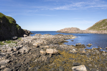 panorama along the coast of Niksund to the Lofoten islands in Norway