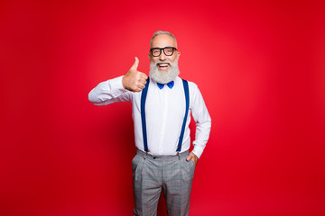 Portrait of cheerful, laughing old barber, stylist showing thumb up holding hand in pocket having blue suspenders, pants, bowtie, isolated on red background
