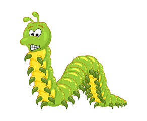 cartoon millipede with teeth character isolated on white background