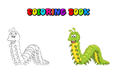 cartoon millipede character coloring book isolated on white background