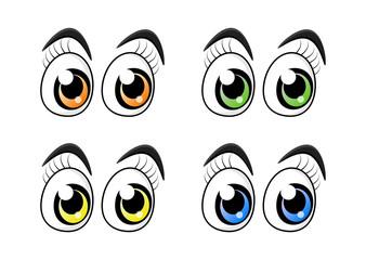 cartoon character eyes with eyelashes set isolated on white background