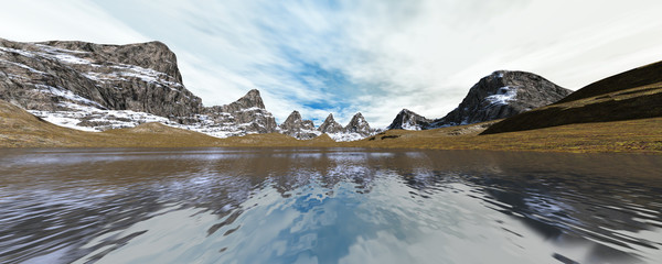3D Rendering Mountain Lake