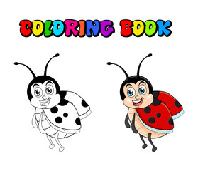 Ladybug cartoon coloring book isolated on white background