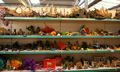 "Fish tank ornaments are seen for sale at ""Wildwoods"" in Crews Hill, Enfield"