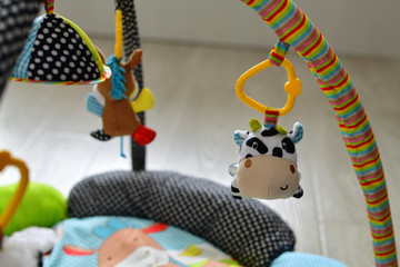 toys for newborns hang over rug