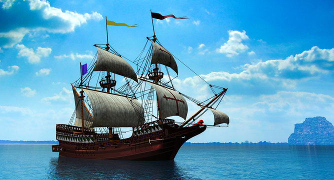 3 d rendering of Spanish galleon on a calm sea