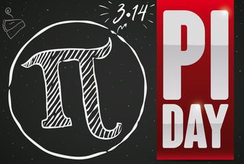 Doodle Drawing Over Blackboard and Ribbon for Pi Day Celebration, Vector Illustration