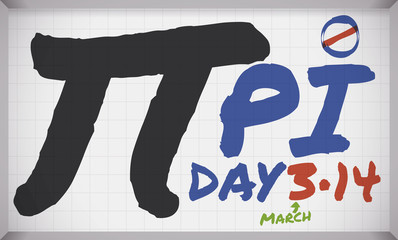 Whiteboard with Pi Symbol written with Markers for Pi Day, Vector Illustration