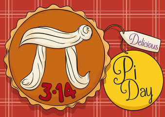 Delicious Pie over Tablecloth and Labels to Celebrate Pi Day, Vector Illustration