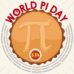 Tasty Pie in Top View with Pi Symbol for World Pie Day, Vector Illustration